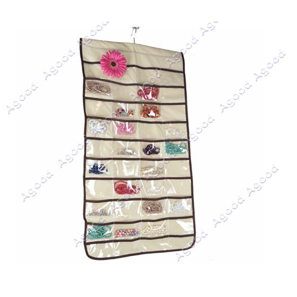 Beige-Jewellery-Hanging-Organizer-Storage-Receive-Bag-Case-80-Pockets-Non-Woven