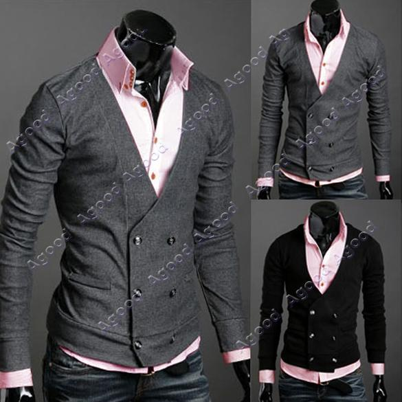 Men-039-s-Slim-Fit-double-breasted-Stylish-Wool-Cardigan-Sweater-Coat-2-Color-4-Size