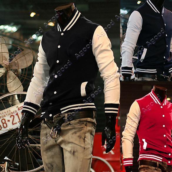 Men-039-s-Designed-Trendy-034-NY-034-Baseball-Uniform-Slim-Fit-Coat-Outerwear-Jacket-M-XXL