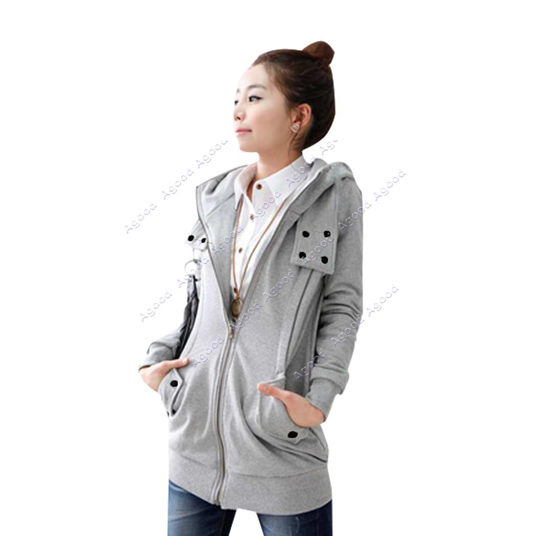 Korea Women's Zip Up Long Top Hoodie Coat Jacket Many ...