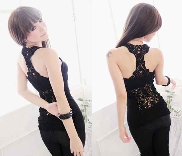 Womens Shirt Top Hollow out Vest Waistcoat Camisole Pierced lace