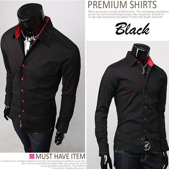 Mens-Casual-Slim-fit-Stylish-Long-Sleeve-Shirts-Luxury-Two-Color-Three-Size-New