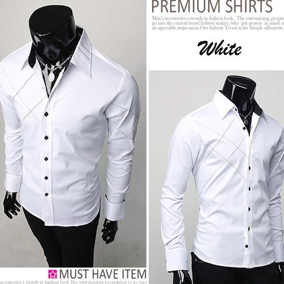 New-Mens-Casual-Slim-fit-Stylish-Long-Sleeve-Shirts-Luxury-M-L-XL-Black-White