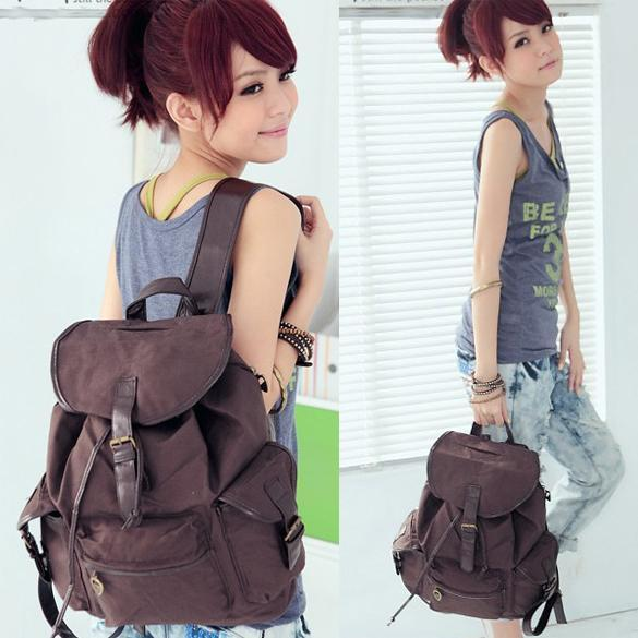 New-Fashion-Womens-Bag-Canvas-Satchel-Backpack-Coffee-Beige