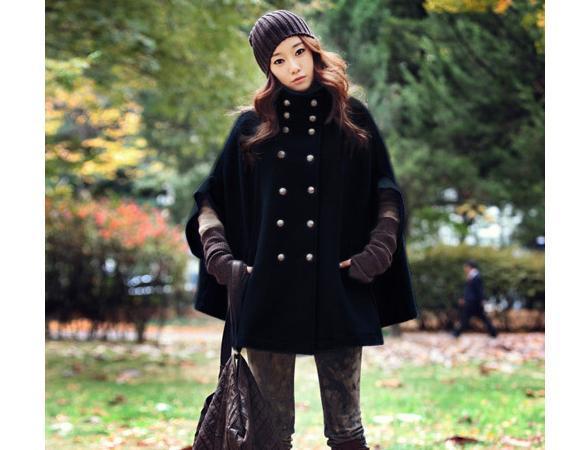 Женское двубордное пальто-жилетка из сукна в стиле кореского.