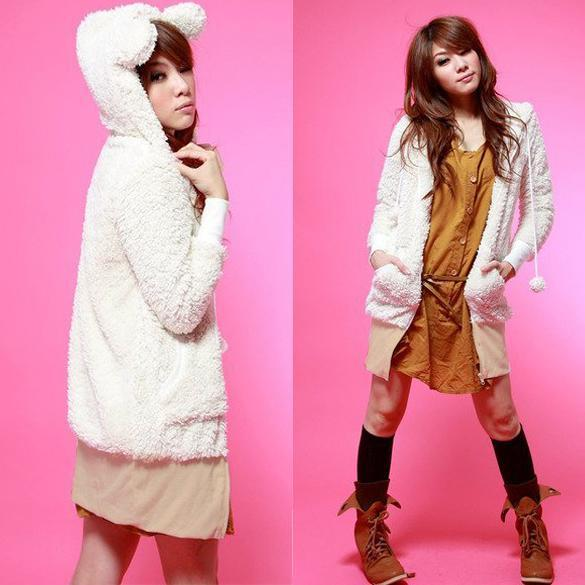 Women-kawaii-Go-2-Sweet-Teddy-Bear-Ear-Fleece-Hoodie-Top-Coat-Jacket-3-color