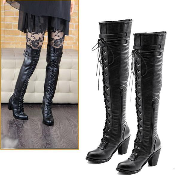 Womens-Black-Shoes-Over-the-Knee-Lace-up-PU-Leather-Boots-Fashion