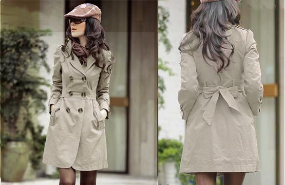 Korea Style Leisure Long Sleeve Coat Deep Khaki i265302