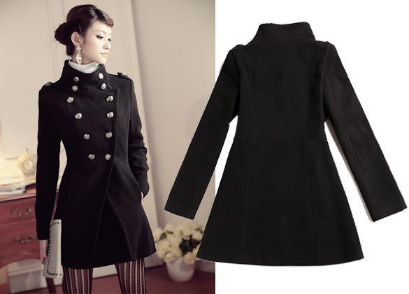 Шерстяное пальто чёрного.