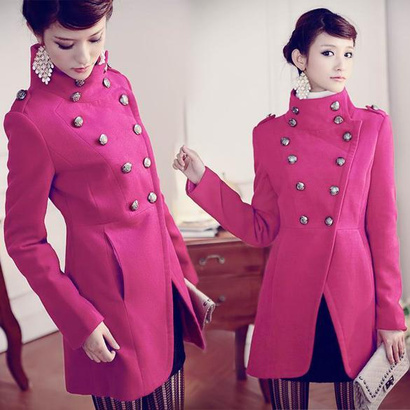 Womens-Double-Breasted-Button-Trench-Jacket-Military-Stand-Collar-Coat-3-Colors