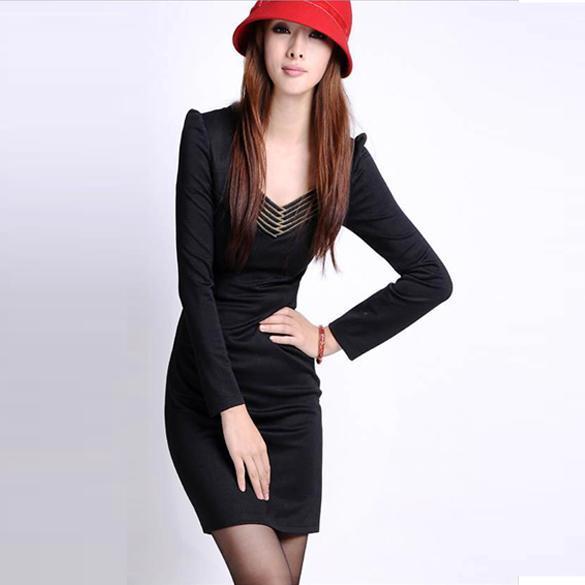 New korea Slim Vogue OL slim V Neck Mini Dress long sleeves