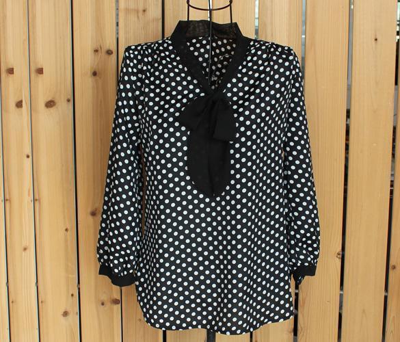 Vintage Polka Dot Chiffon SHIRT Top Women OL Sleeve Bowknot Blouse
